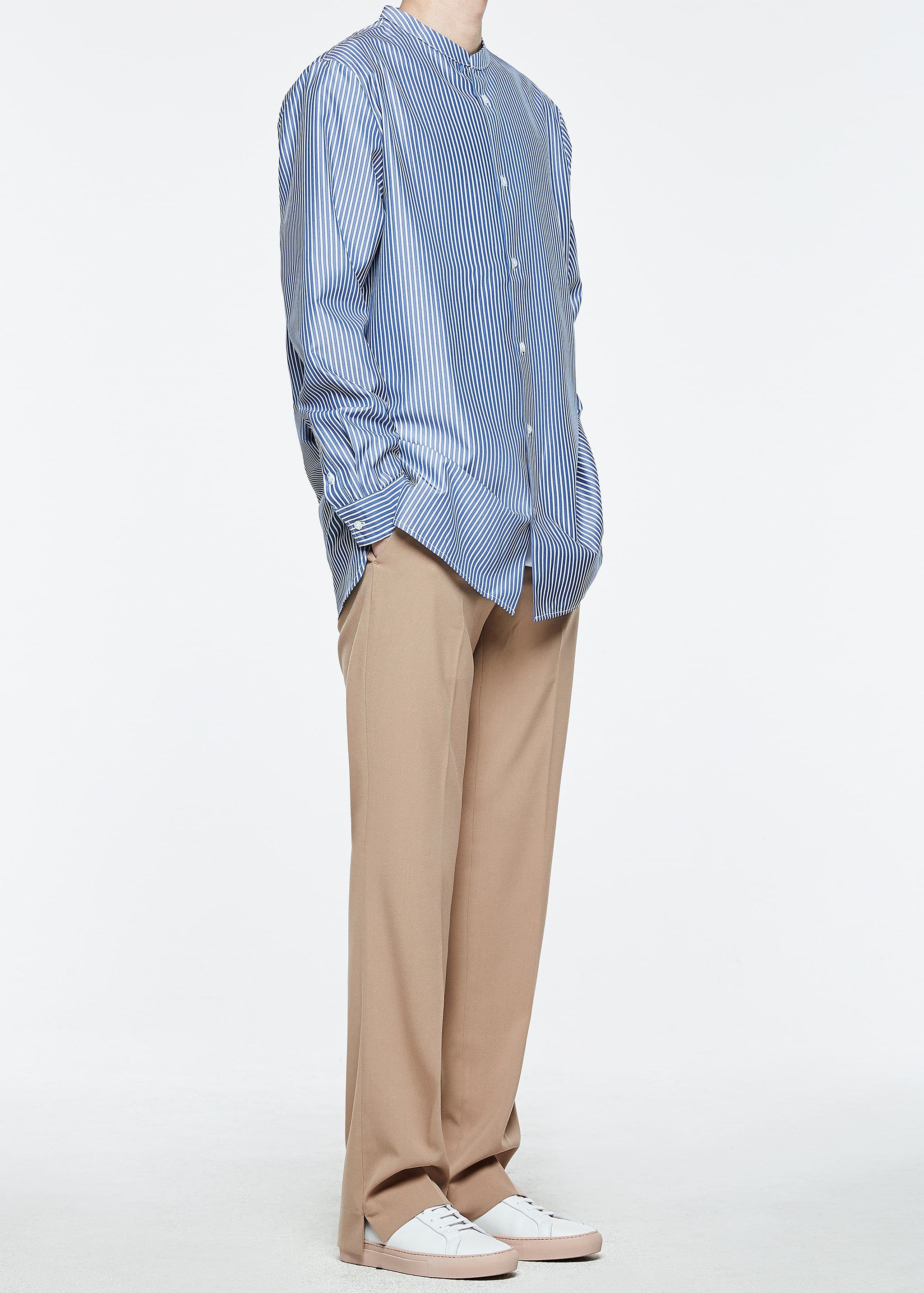 [감사세일] China Collar Long Shirts (Blue)